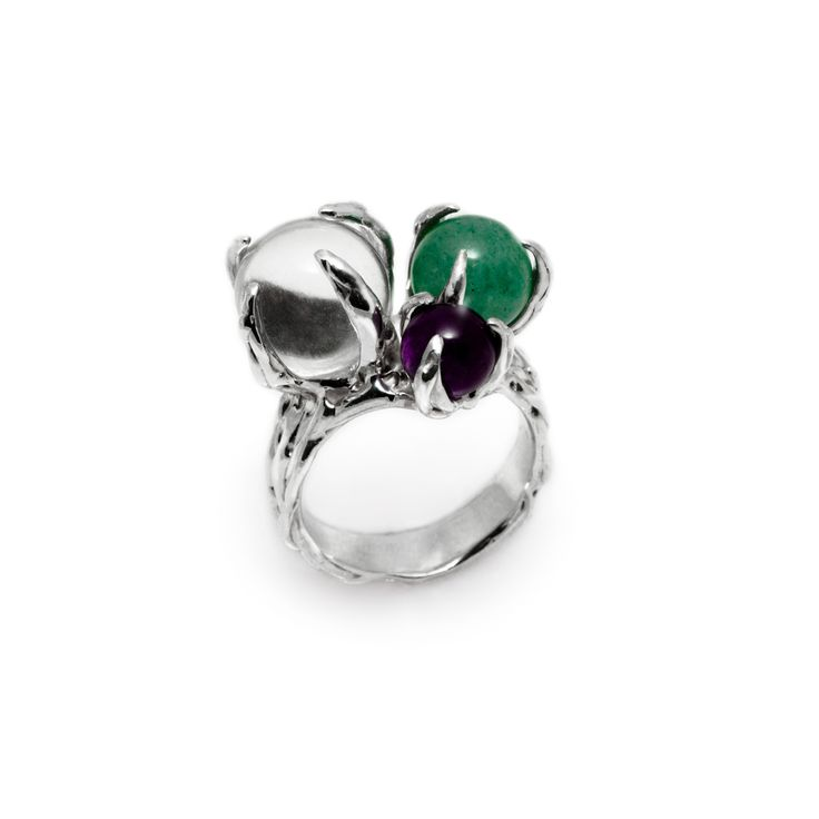 SPHERE RING SPUTNIK WITH CLEAR QUARTZ, AVENTURINE AND AMETHYST #pulse_jewellery  #sterling #silver #925 #jewellery #jewelry #ring #rings #fluid #liquid #sphere #gemstone #clear #quartz #aventurine #amethyst