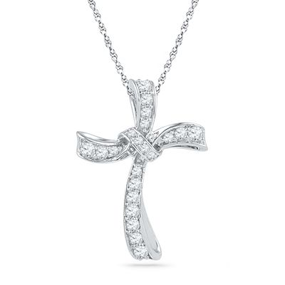 1/3 CT. T.W. Diamond Curved Cross Pendant in 10K White Gold
