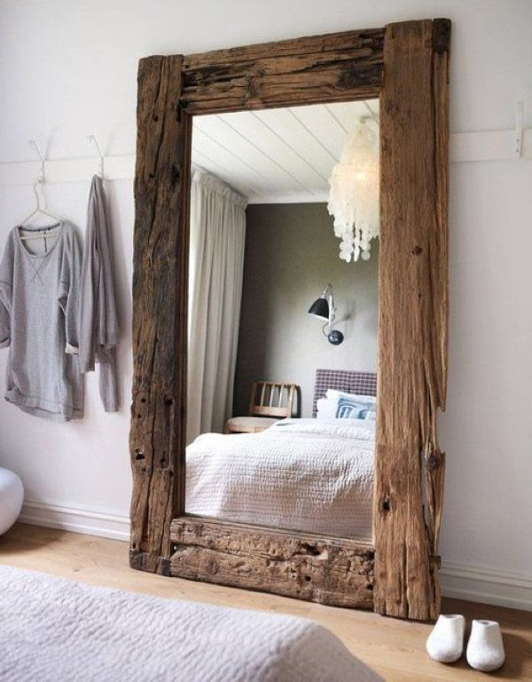 home decoration with driftwood - full-length mirror