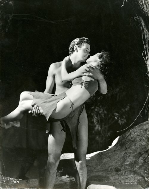 Johnny Weissmuller & Maureen O' Sullivan from Tarzan and His Mate (1934)  before there were Hollywood censors