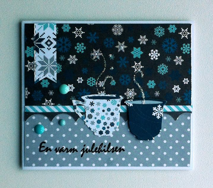 "christmas cup tag card - Echo park ""Hello Winter"" paper pad - julekort - Karte Weihnachten - Hello winter EchoPark - cup mug, coffee, tea, chocolate, tea, #cupcard - warm wishes"