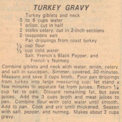 Recipe Clipping For Turkey Gravy