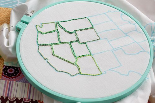 Homeschool geography and handicraft: Sewing Tables, Colors Books Pages, States Embroidery, Coloring Book Pages, French Knot, Embroidery Diy, Photo, Us Maps, Coloring Books