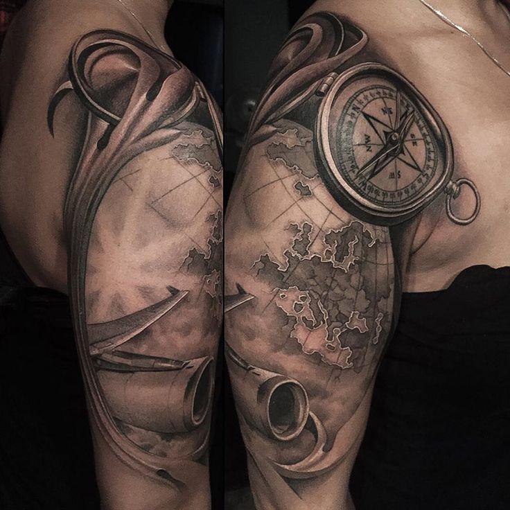 Compass, Map & Plane Travel Tattoo   <<SLEEVE TATTOOS ...