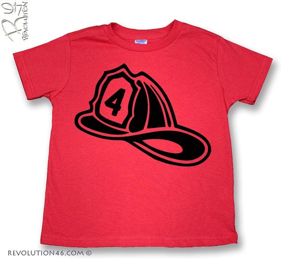 Fourth Birthday Fireman Shirt Number 4 Fire Hat by REVOLUTION46R46, $16.00