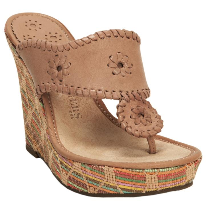 Jack Rogers LLC Straw Wrapped Leather Thong Platform Wedge #VonMaur