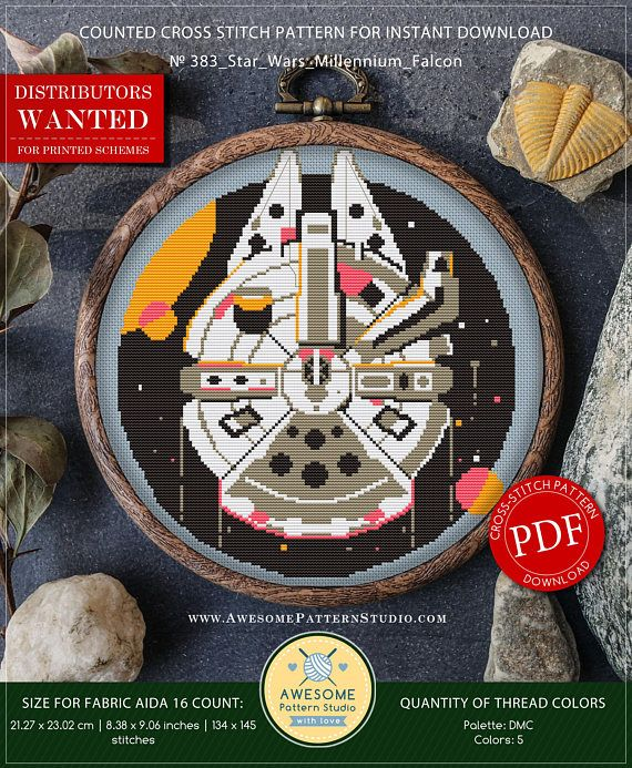 This is modern cross-stitch pattern of Millennium Falcon for instant download. Cool cross-stitch version of famous epic space opera franchise. Nice picture to decorate your living space. You will get a PDF file, which includes: - main picture for your reference; - colorful