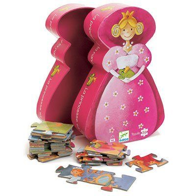 "Djeco / Shaped Box Puzzle, The Princess and The Frog by Djeco. $12.98. Large pieces are perfect for little hands just learning the fun of interlocking puzzles. For ages 4 years and older. Designed in France by Monica San Cristobal. Puzzle measures 16"" wide x 12"" high. 36-piece puzzle features fun and fanciful princess and the frog artwork. Fun and learning - nothing brings them both together like a puzzle!  Children learn pattern recognition, practice fine motor skills and..."