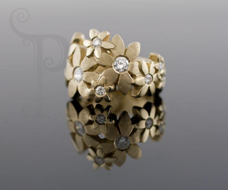 Handmade 18ct Yellow Gold Catherine Daisy Ring, Set With Round Brilliant Cut diamonds