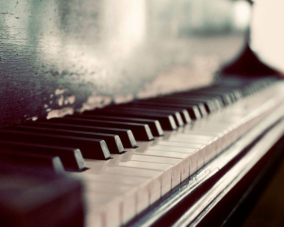 Piano Photography Dark Art Monochromatic Print Still by ellemoss