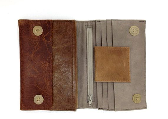 Sale Womens Distressed  brown Leather Wallet Womens by LimorGalili