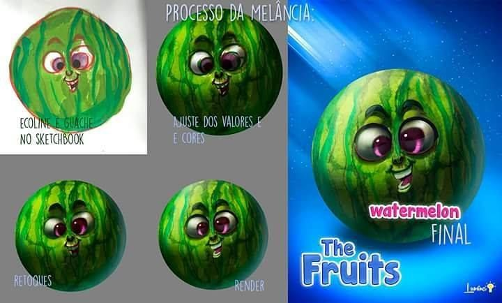 O processo da melancia. http://ift.tt/1Sm2KDk :D #process #mixedmedia #photoshop #cintiq #wacom http://ift.tt/1W5Ai8E - http://ift.tt/1HQJd81