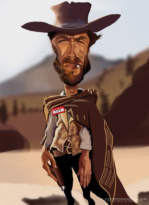 Famous Caricatures Gallery | Steve Roberts' Caricatures.: Clint Eastwood caricature ... 2.