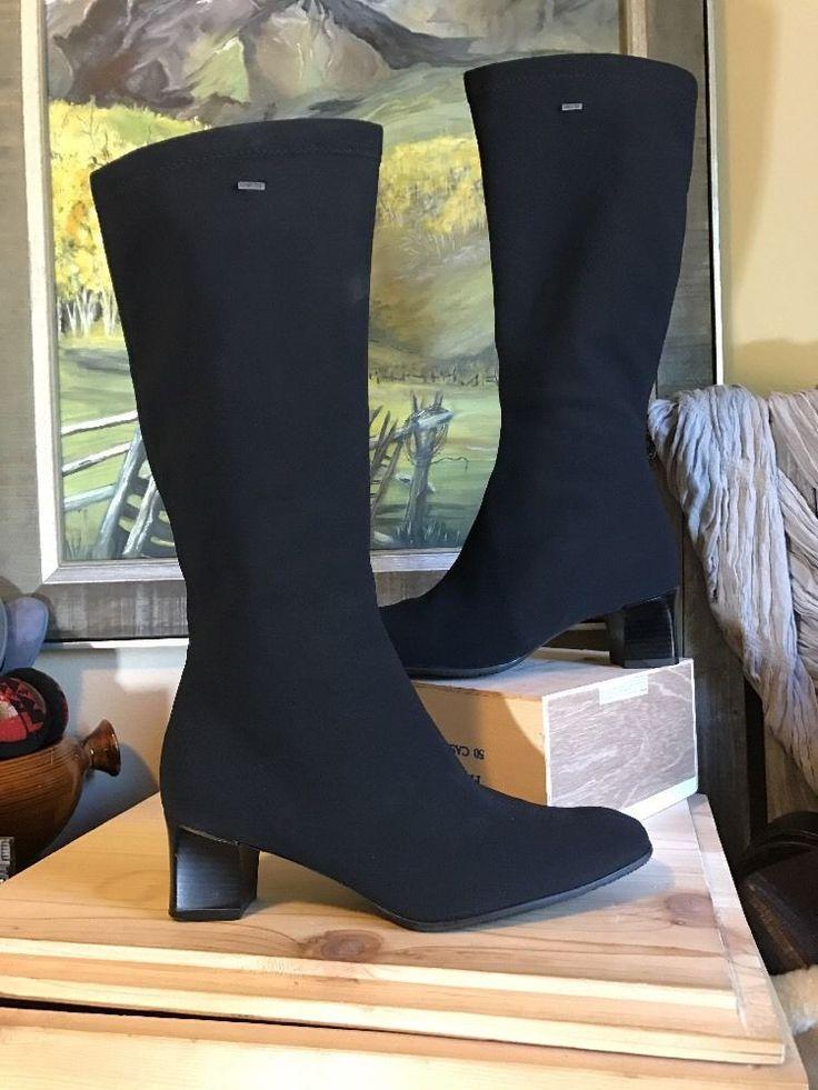 ARA Fisk Boots Tall Waterproof Gortex Zip Boots Black 10-10.5  | eBay