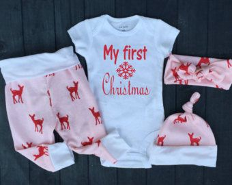Baby Girl Christmas Outfit, My First Christmas,Pink with Red Deer, Baby, Girls Christmas,Deer, Country Outfit,Girl Coming home outfit