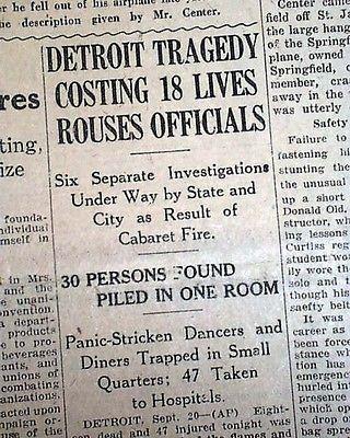 STUDY CLUB FIRE Prohibition Era Nightclub Cabaret Detroit Michigan1929 Newspaper