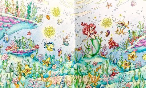 #旅するディズニー塗り絵 #アリエル #コロリアージュ #coloriage #coloring #ariel #大人の塗り絵 #coloringbooks