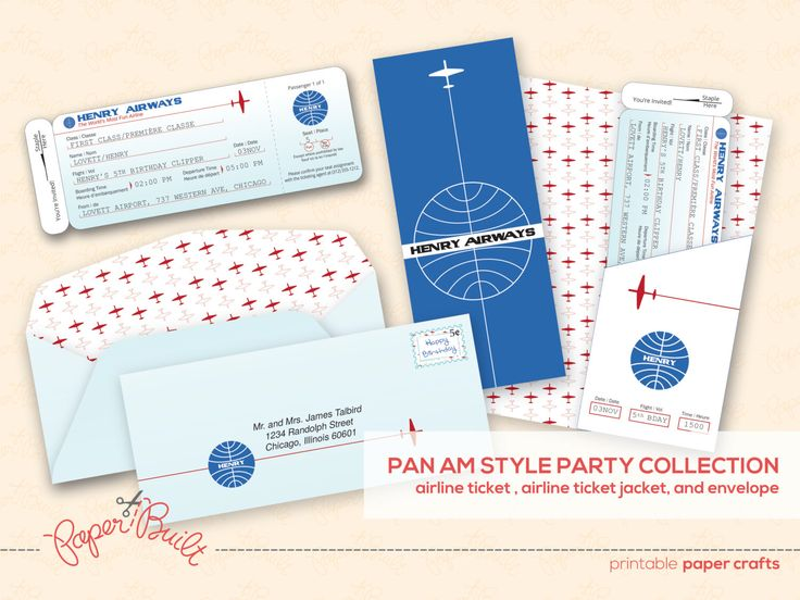 Printable Airplane Birthday Party Airline Ticket Invitation - plane ticket template