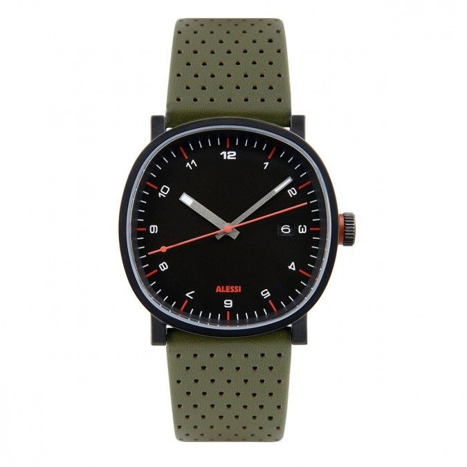 The TIC watch by Alessi has a 38mm brushed stainless steel case and a green perforated leather strap. #watches #design