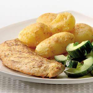 Recept - Mosterdkalkoen met gestoofde komkommer - Allerhande