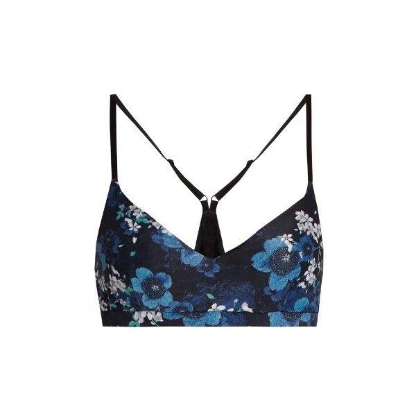 The Upside Zoe Cherry Blossom-print performance bra (565 SEK) ❤ liked on Polyvore featuring activewear, sports bras, navy multi, navy sports bra, racerback sports bra, white sports bra, v neck sports bra and navy blue sports bra