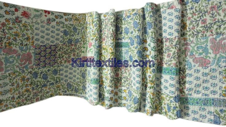 Sanganeri  Wooden Block Printed Cotton Fabric Made Traditional Designs Patchwork Gudri Elegant Hand Block Printed Throw From Jaipur Rajasthan India