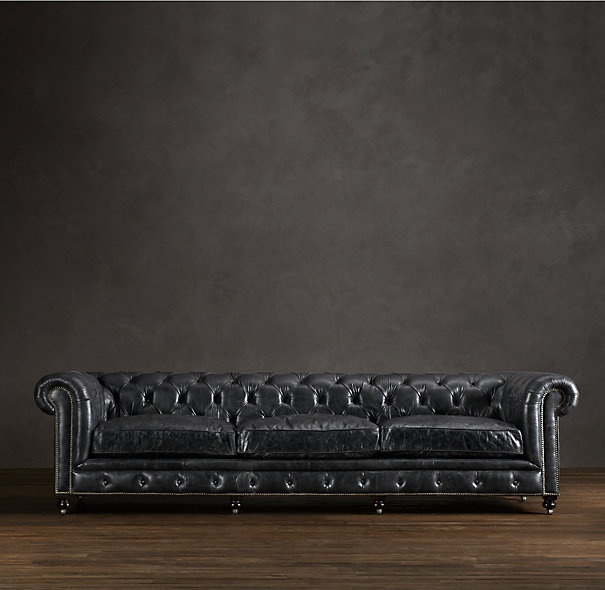 new sofa rh leather in slate kensington