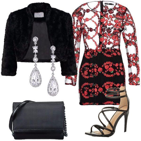 Un outfit pensato per le prossime festività invernali: blazer nero, pelliccia sintetica, collo alla coreana, extra corto, maniche 3/4 abbinato ad abito molto sexy, nero in fantasia floreale rossa, corpetto trasparente, scollo tondo, sandalo nero tacco a spillo, piccola borsa a tracolla nera. Orecchini chandellier completano l'outfit. Vi consiglio, di indossare un reggiseno magari in raso nero coprente, visto le trasparenze dell'abito.