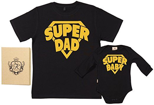 SR - SuperDad & SuperBaby 100% Biobaumwolle - Vater Sohn Geschenkset in Geschenkbox - XL, 0-6 Monate - Schwarz