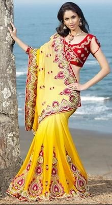 Marvelous Gold Color Embroidered Saree