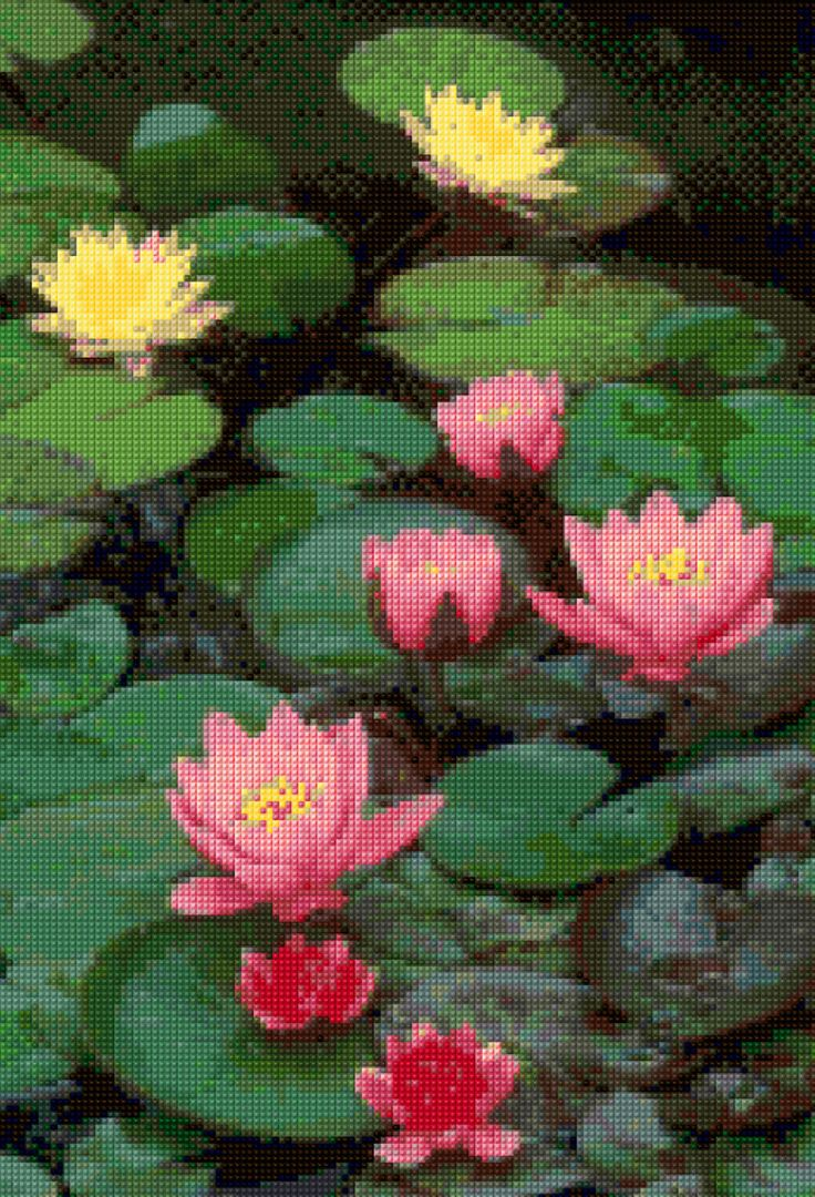 Lotus Flowers Cross Stitch pattern PDF - Instant Download! by PenumbraCharts on Etsy