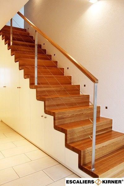 Escaliers moderne sur mesure design marche contre marche avec rangement dessous et garde-corps rampant inox
