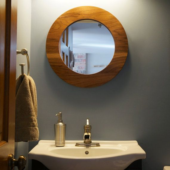 Round Wall Mirror 22 Solid Walnut Hanging by MushenoWoodworking