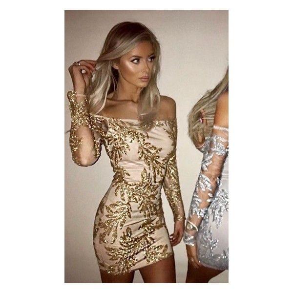 Own The Night Nude Khaki Gold Leaf Floral Sequin Long Sleeve Sheer... ($130) ❤ liked on Polyvore featuring dresses, bandage bodycon dress, off the shoulder bodycon dress, short sequin dress, gold sequin dress and long sleeve off the shoulder dress