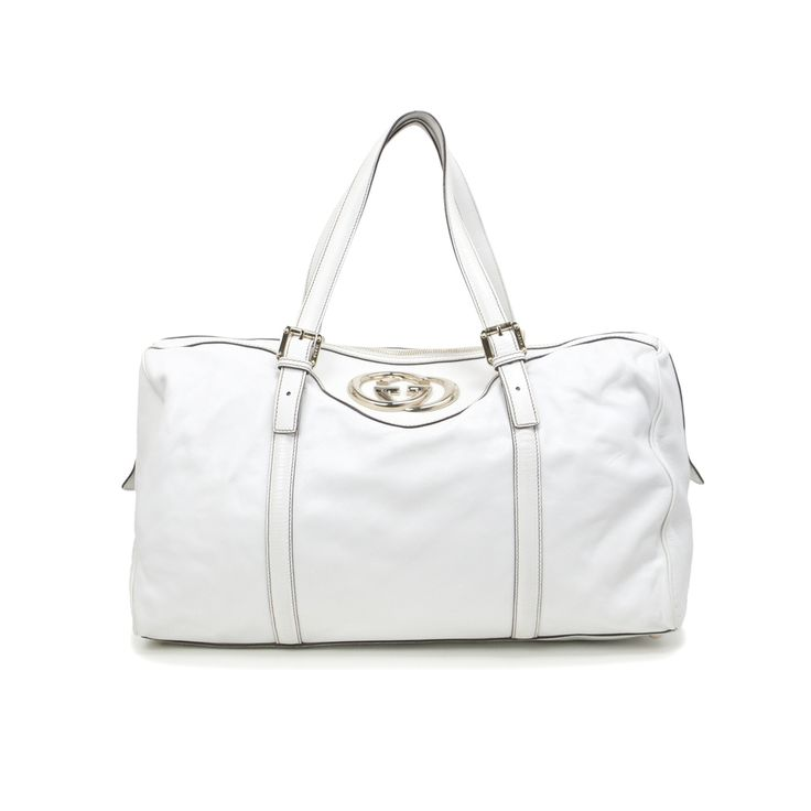 Gucci White Leather Large Britt Boston Tote - modaselle