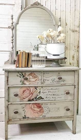 Beautiful Painted Shabby Chic Dresser Love The Roses Furniture French Shabbychic