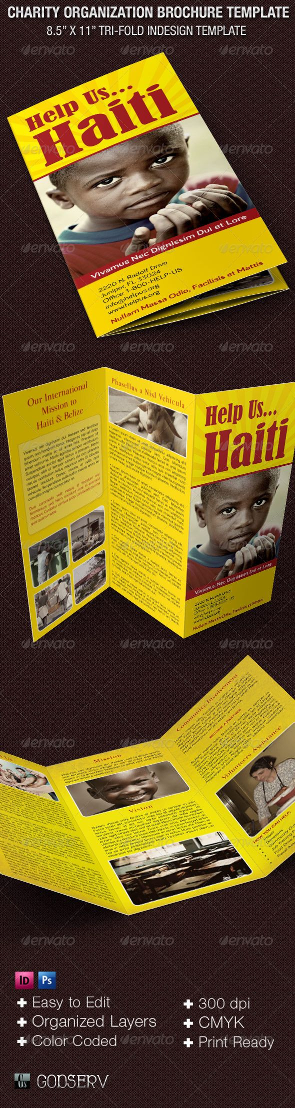 Charity Organization Brochure Template - Informational Brochures