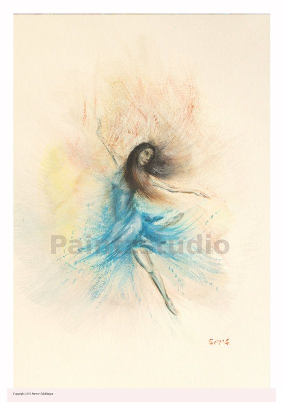 Ballet Ballerina woman print woman art figure by Paintzstudio