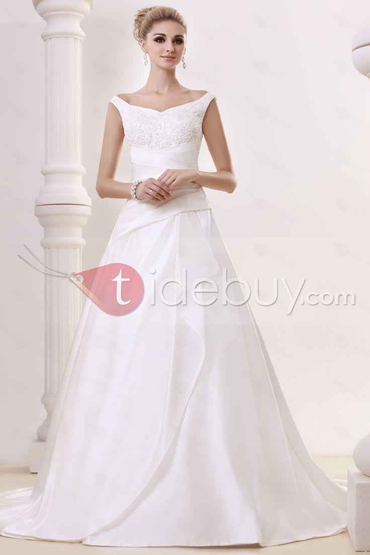 Aラインストラップ床までの長さチャペルアップリケビンテージウェディングドレス