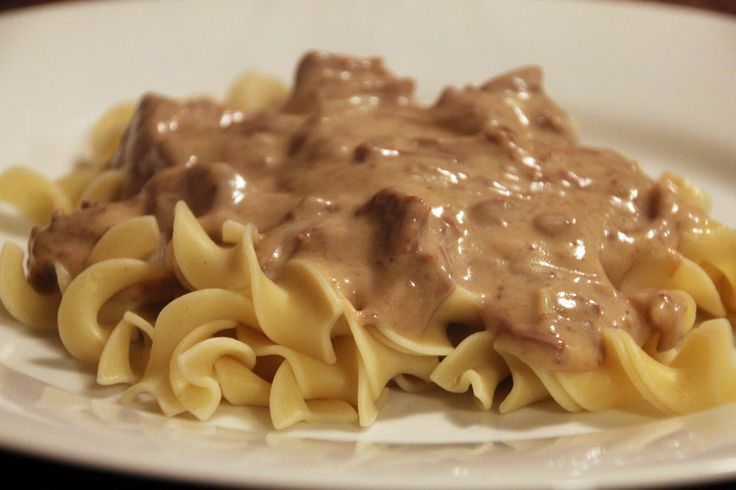 Crock pot beef stroganoff! Very flavorful and yummy. Plus its a crock pot freezer meal and cooks quickly for a last minute meal idea!