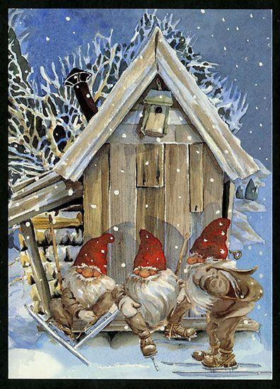 Three gnomes on skis on porch of snow-covered cottage - Sök på Google