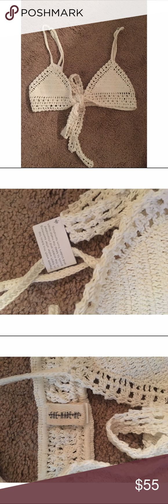 ✨SHE MADE ME CROCHET BIKINI TOP✨ BRAND NEW! It has half of the tags attatched, the other one fell off while trying it on. It says it's a size M/L but it's more of a Small Medium because it's an Australian size. It's sold at some free people locations and online as well. Open to offers. Free People Swim Bikinis