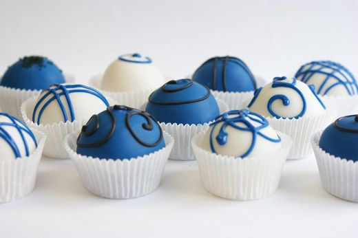 Fancy Royal Blue & White Cake Bites by Miss CandiQuik