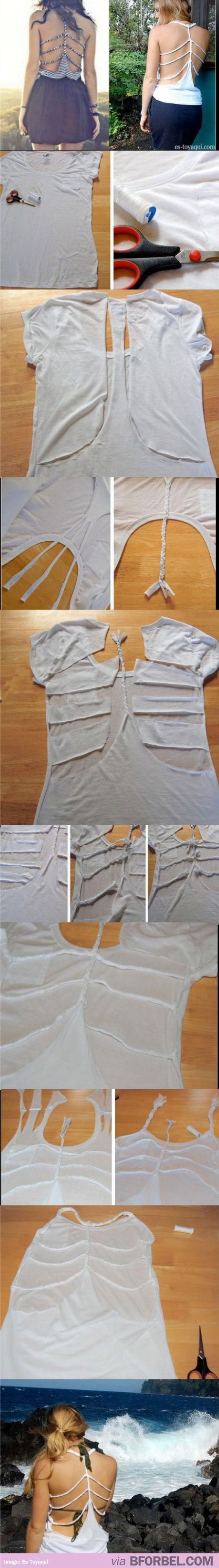 DIY: Spine, rib cagey tank from a t-shirt. At least I think that's what they're called.