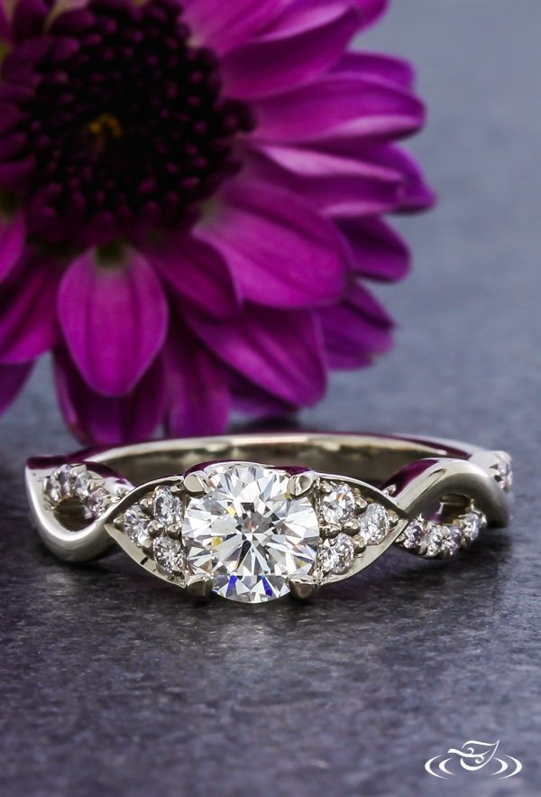 Diamond Twist Engagement Ring. Green Lake Jewelry