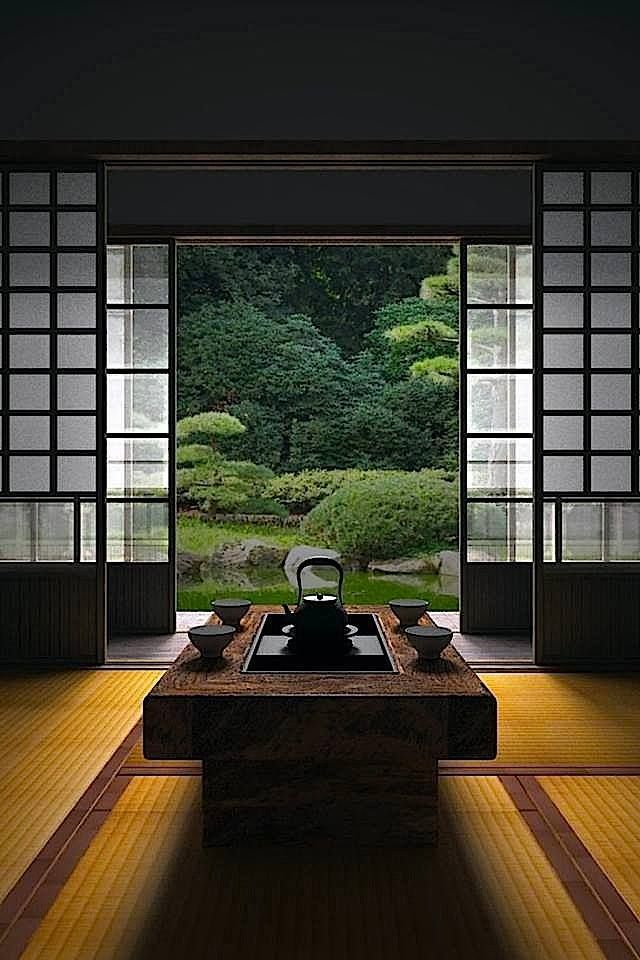 Japanese room, clean lines, simplicity and symmetrical balance. Beautiful themes to incorporate into your home.