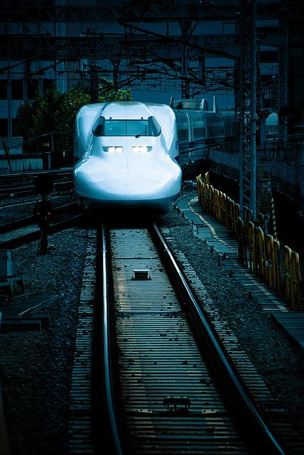 lavelocita:  Deep blue: Shinkansen by manganite on Flickr.  train  japan