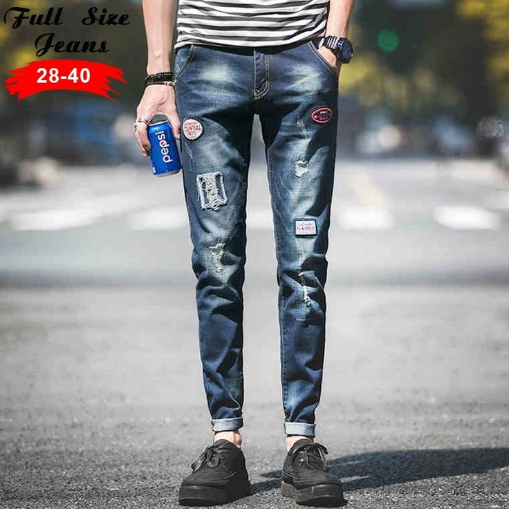 36.29$  Watch more here - http://ai9ym.worlditems.win/all/product.php?id=32680967322 - 2017 Designer Patchwork Plus Size Denim jeans Mens Tapered Jeans Cotton Slim Fit Pencil Pants Sweatpants Trousers Pants S M 5XL
