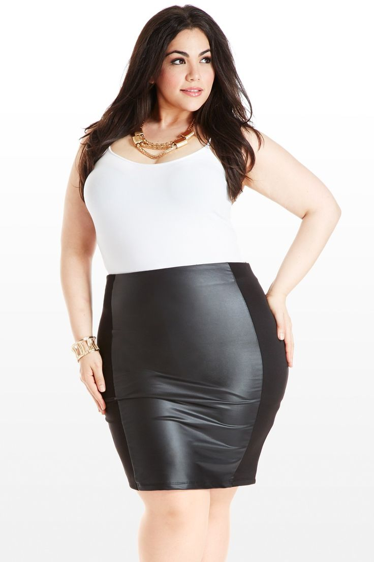 Follow It To the Leather Panel Skirt Fashion To Figure. Must have!!!