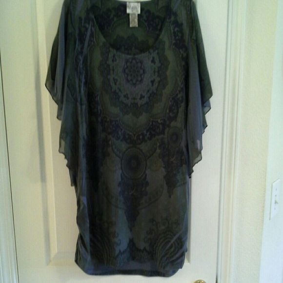 Plus size batwing top Dark green with blue design, sheer batwing sleeves and side gathers. Washed once, never worn. The shirt is a darker green than in the picture. Lavish plus  Tops Blouses